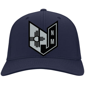 Wicked Jeeps NM embroidery Black & Silver C813 Port Authority Flex Fit Twill Fullback Baseball Cap