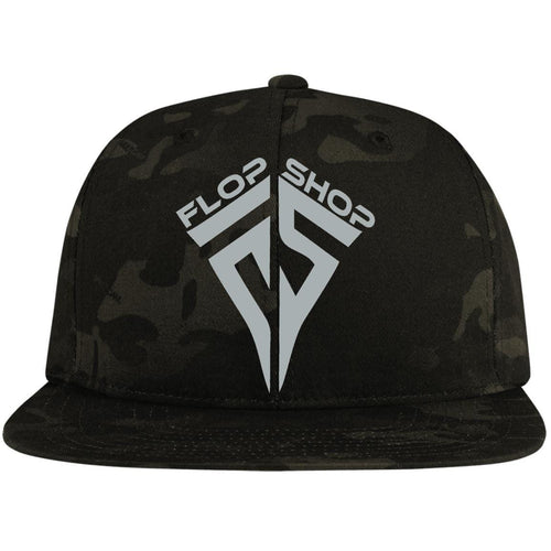 Flop Shop silver embroidered logo STC19 Sport-Tek Flat Bill High-Profile Snapback Hat