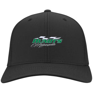 Hundt's Motorsports silver embroidered C813 Port Authority Flex Fit Twill Baseball Cap