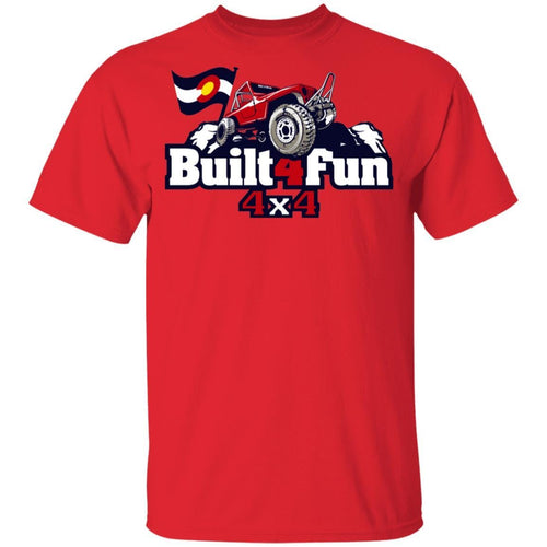 Built4Fun red G500B Gildan Youth 5.3 oz 100% Cotton T-Shirt