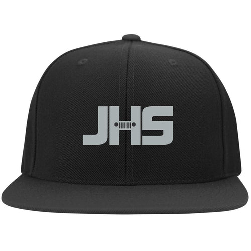 JHS silver embroidered logo 6297F Fullback Flat Bill Twill Flexfit Cap