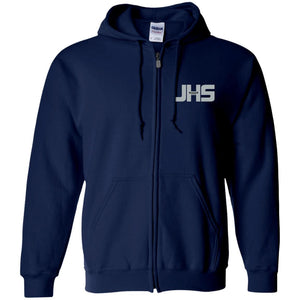 JHS silver embroidered logo G186 Gildan Zip Up Hooded Sweatshirt