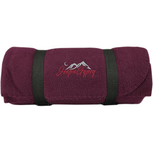 JeepnGypsy silver & red embroidered BP10 Port & Co. Fleece Blanket
