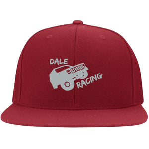 Dale Racing silver embroidered logo 6297F Fullback Flat Bill Twill Flexfit Cap