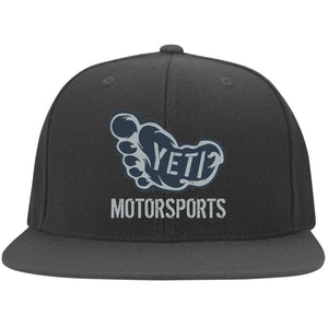 Yeti silver embroidered logo 6297F Fullback Flat Bill Twill Flexfit Cap