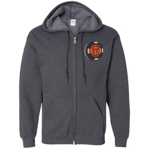 Black 17 embroidered G186 Gildan Zip Up Hooded Sweatshirt