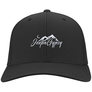 JeepnGypsy white embroidered C813 Flex Fit Twill Baseball Cap