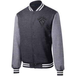 Flop Shop black embroidered logo ST270 Sport-Tek Fleece Letterman Jacket