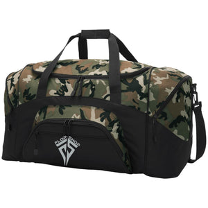 Flop Shop silver embroidered logo BG99 Port & Co. Colorblock Sport Duffel