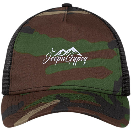 JeepnGypsy white embroidered NE205 New Era® Snapback Trucker Cap