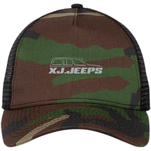 XJ Jeeps silver embroidered logo NE205 New Era® Snapback Trucker Cap