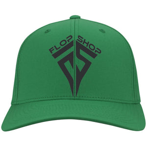Flop Shop black embroidered logo C813 Port Authority Flex Fit Twill Baseball Cap
