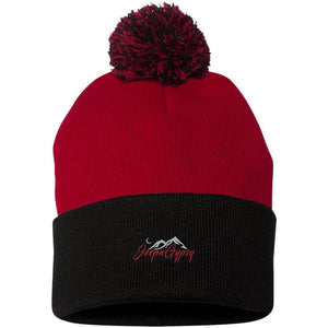 JeepnGypsy silver & red embroidered SP15 Sportsman Pom Pom Knit Cap