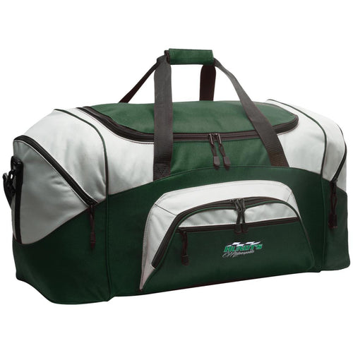 Hundt's Motorsports silver embroidered BG99 Port & Co. Colorblock Sport Duffel