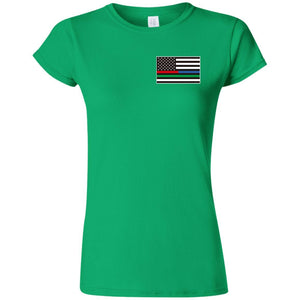 Unity Flag front, Jeeps Against Veteran Suicide back G640L Gildan Softstyle Ladies' T-Shirt