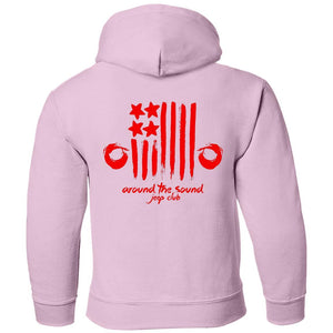 ASJC 2-sided print with Freedom flag on back G185B Gildan Youth Pullover Hoodie