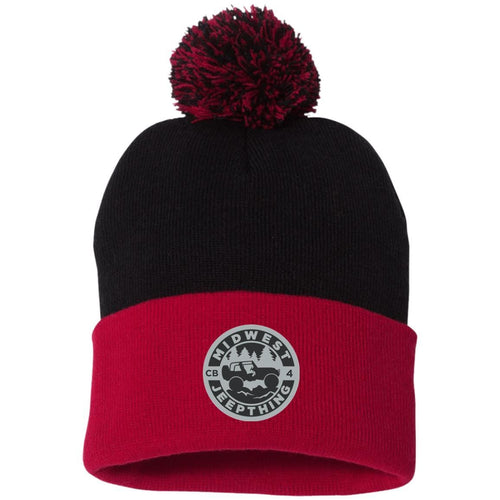 MWJT silver & black embroidered logo SP15 Sportsman Pom Pom Knit Cap
