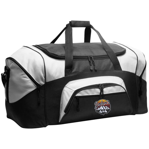 John's 4x4 embroidered BG99 Port & Co. Colorblock Sport Duffel