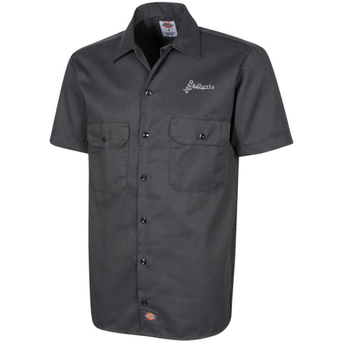 Jeep Alberta silver embroidered logo 1574 Dickies Men's Short Sleeve Workshirt