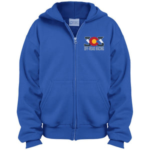 303 Off-road Racing embroidered logo PC90YZH Port & Co. Youth Full Zip Hoodie