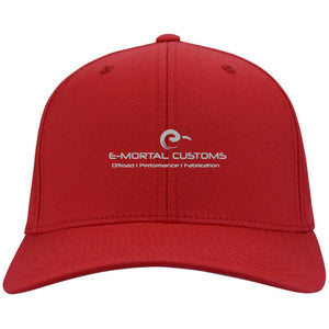 E-Mortal silver embroidered logo C813 Port Authority Fullback Flex Fit Twill Baseball Cap