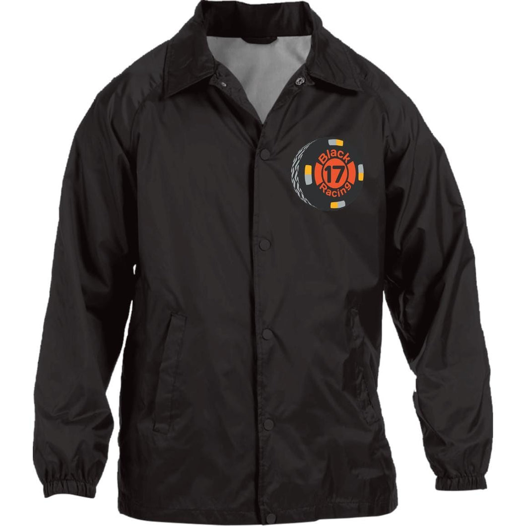 Black 17 embroidered M775 Harriton Nylon Staff Jacket