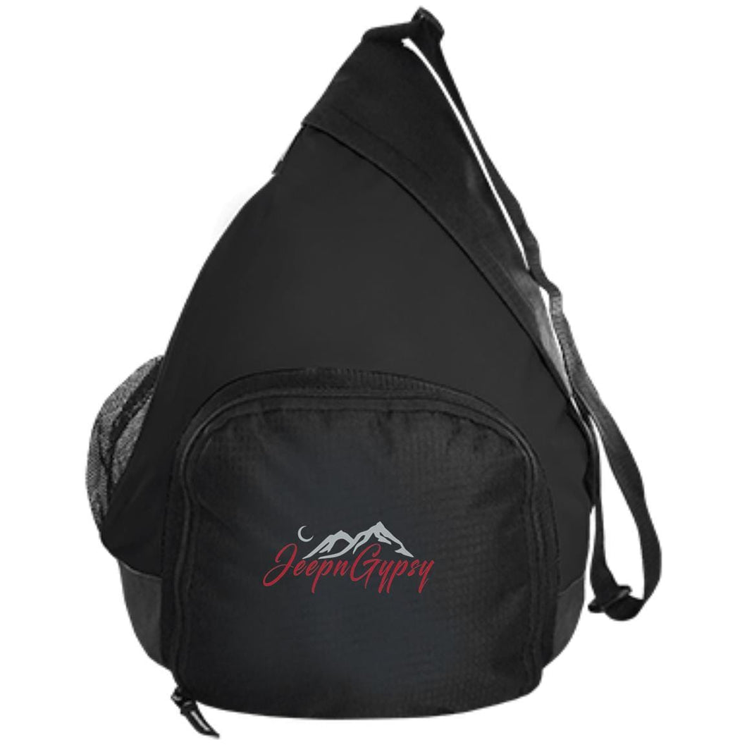 JeepnGypsy silver & red embroidered BG206 Port Authority Active Sling Pack