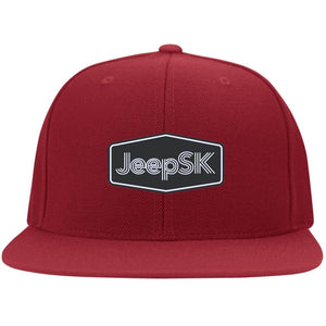 JEEP SK embroidered logo 6297F Fullback Flat Bill Twill Flexfit Cap
