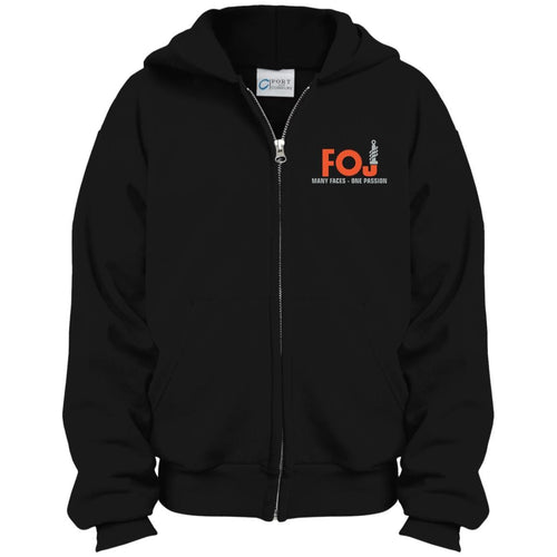 FOJ silver embroidered PC90YZH Port & Co. Youth Full Zip Hoodie