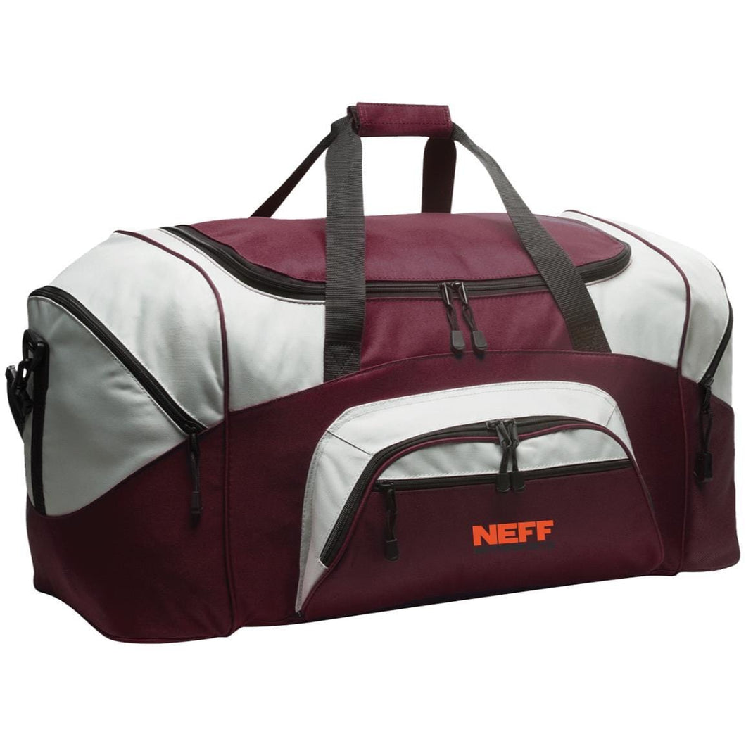 Neff Motorsports embroidered BG99 Port & Co. Colorblock Sport Duffel