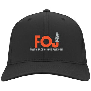 FOJ silver embroidered C813 Port Authority Flex Fit Twill Baseball Cap
