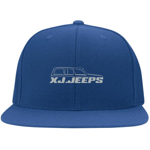 XJ Jeeps silver embroidered logo 6297F Fullback Flat Bill Twill Flexfit Cap