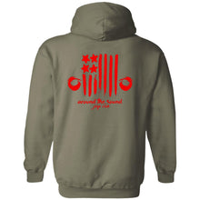 ASJC 2-sided print with Freedom flag on back G185 Gildan Pullover Hoodie 8 oz.