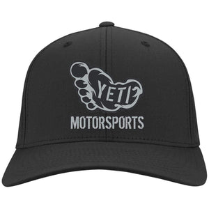 Yeti silver embroidered logo C813 Port Authority Fullback Flex Fit Twill Baseball Cap