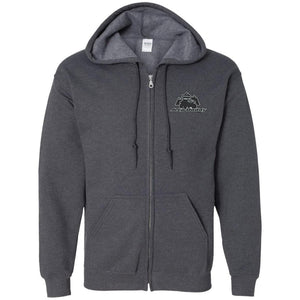 JeepDaddy black & silver embroidered logo G186 Gildan Zip Up Hooded Sweatshirt