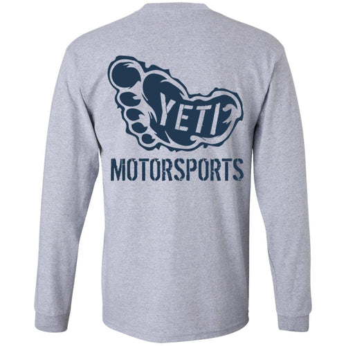 Yeti Motorsports blue logo 2-sided print G240B Gildan Youth LS T-Shirt