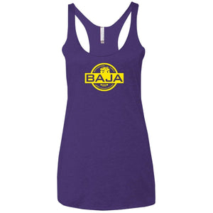 BAJA yellow logo NL6733 Next Level Ladies' Triblend Racerback Tank