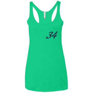 Yeti Motorsports blue logo 2-sided print NL6733 Next Level Ladies' Triblend Racerback Tank