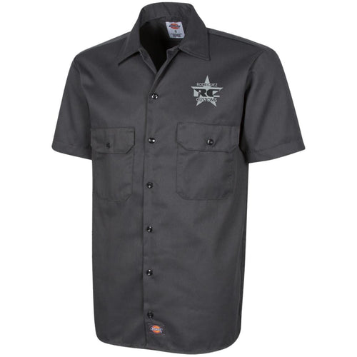 Rodriguez Customs silver and black embroidered logo 1574 Dickies Men's Short Sleeve Workshirt