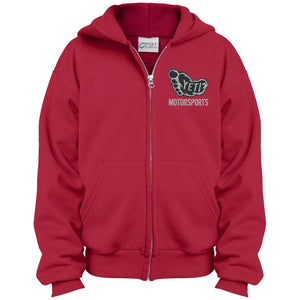 Yeti silver embroidered logo PC90YZH Port & Co. Youth Full Zip Hoodie