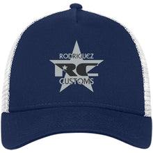 Rodriguez Customs silver and black embroidered logo NE205 New Era® Snapback Trucker Cap