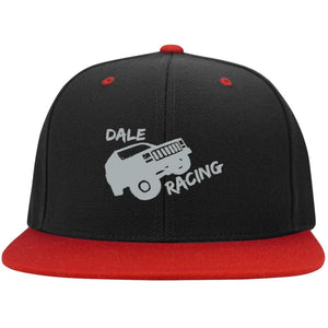 Dale Racing silver embroidered logo STC19 Sport-Tek Flat Bill High-Profile Snapback Hat