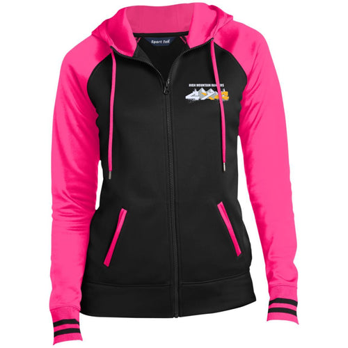HMR white embroidered logo LST236 Sport-Tek Ladies' Sport-Wick® Full-Zip Hooded Jacket