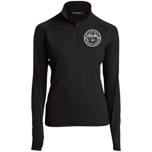 MWJT silver & black embroidered logo LST850 Sport-Tek Women's 1/2 Zip Performance Pullover