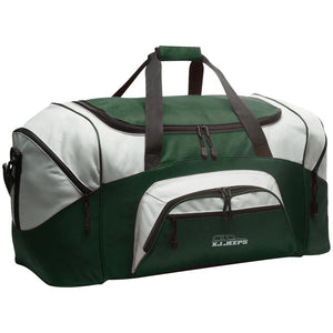 XJ Jeeps silver embroidered logo BG99 Port & Co. Colorblock Sport Duffel