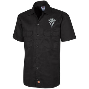 Flop Shop silver embroidered logo 1574 Dickies Men's Short Sleeve Workshirt