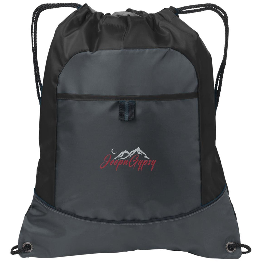 JeepnGypsy silver & red embroidered BG611 Port Authority Pocket Cinch Pack