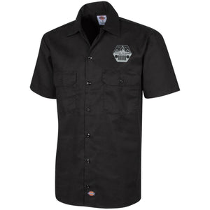 ASJC silver & black embroidered logo 1574 Dickies Men's Short Sleeve Workshirt
