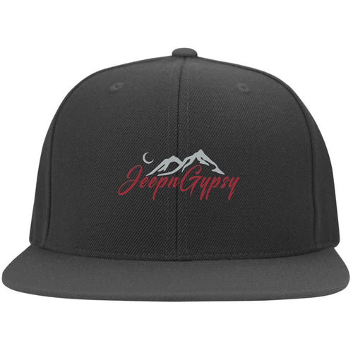 JeepnGypsy silver & red embroidered 6297F Yupoong Flat Bill Twill Flexfit Cap