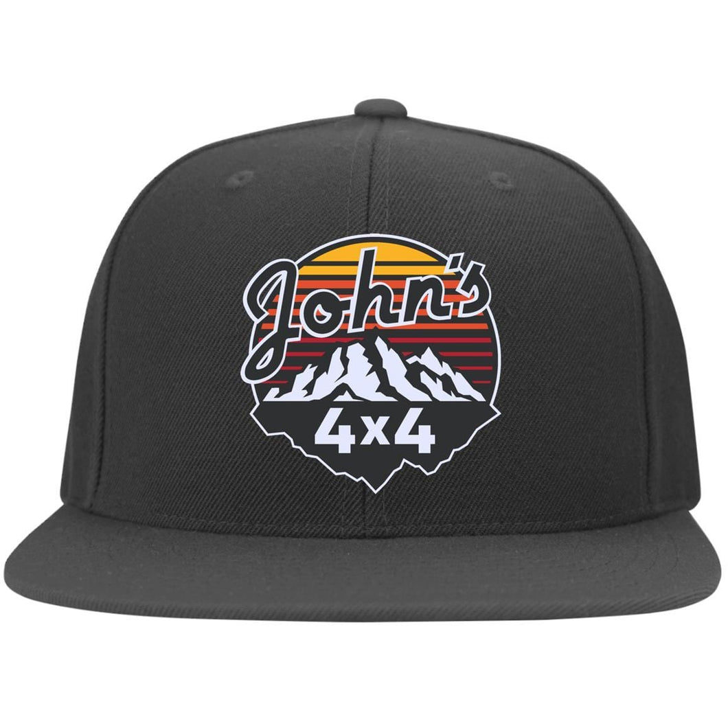 John's 4x4 embroidered 6297F Fullback Flat Bill Twill Flexfit Cap